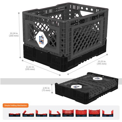 [BIGANT] Heavy Duty Collapsible & Stackable Plastic Milk Crate [Small Size/ 6.5 Gallons] - Charcoal Gray