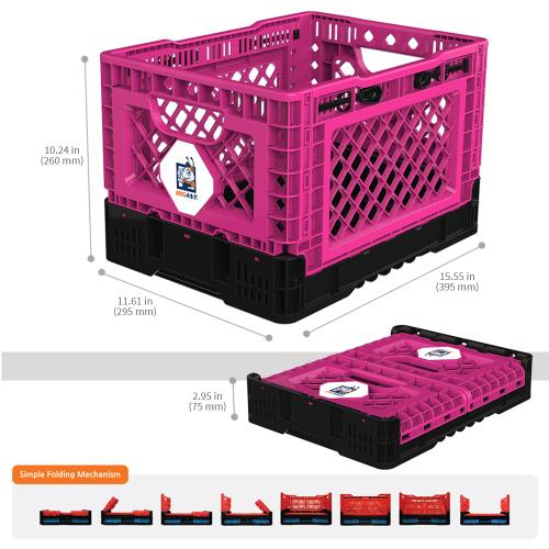 [BIGANT] Heavy Duty Collapsible & Stackable Plastic Milk Crate [Small Size/ 6.5 Gallons] - Hot Pink