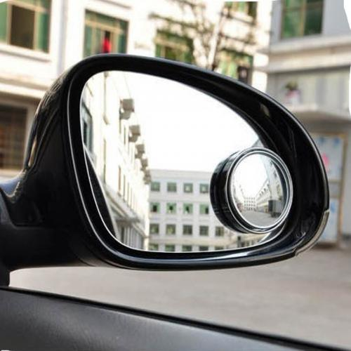 "Blind Spot Mirror 1.97"" Round Shape, Convex & 360° Adjustable, Universal for all Cars, Trucks & Motorcycles [Chrome]"