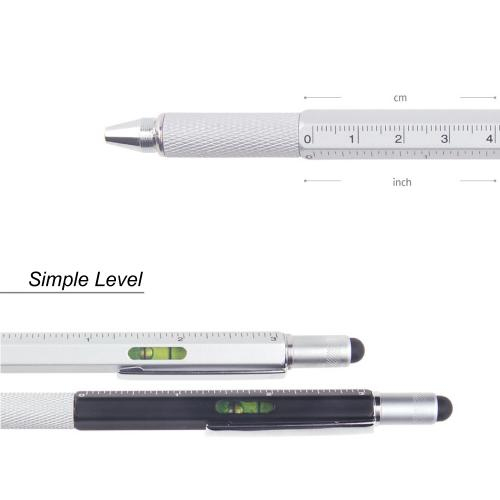 6 in 1 Pen Tool w/ Pen, Flathead Screwdriver, Level and Ruler [2PK - Silver & Black]