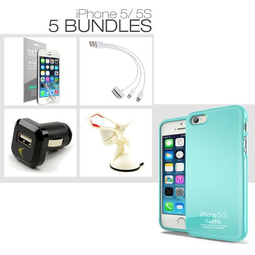 [iPhone 5S/ iPhone 5][4 Essential Package] TPU Case + Car Charger + Suction Car Mount + 3-in-1 Data Cable