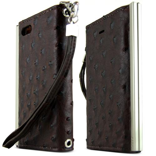 Apple iPhone SE / 5 / 5S Wallet Case, Nodea [Brown] Ella Ostrich Series Slim & Protective Flip Cover Diary Case W/ Id Slots & Magnetic Closure