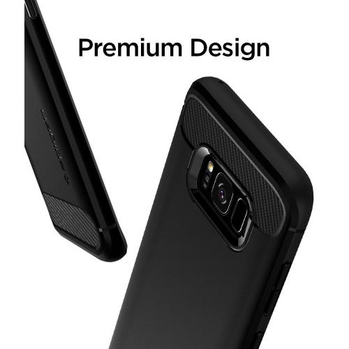 Samsung Galaxy S8 Shockproof Case, [Spigen] Rugged Armor Case w/ Resilient Shock Absorption and Carbon Fiber Design [Black]