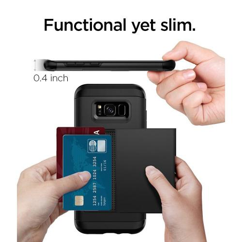 Samsung Galaxy S8 Slim Case, [Spigen] Slim Armor CS Case W/ Slim Dual Layer Wallet Design and Card Slot Holder [Black]