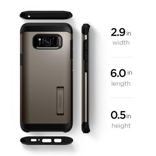 Samsung Galaxy S8 Heavy Duty Case, [Spigen] Tough Armor Case w/ Kickstand, Extreme Heavy Duty Protection and Air Cushion Technology [Gunmetal]
