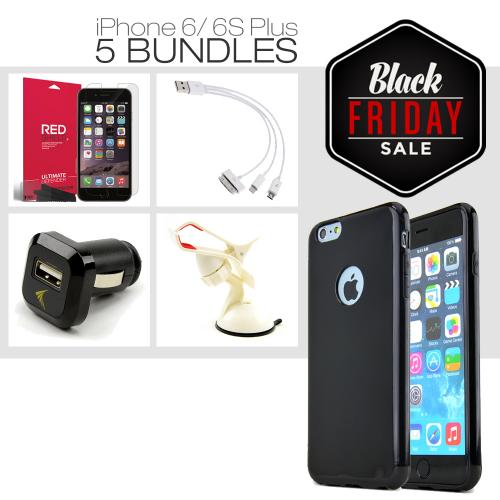 Apple iPhone 6 PLUS/6S PLUS (5.5 inch) [5 Essential Package] TPU Case + Screen Protector + Car Charger + Suction Car Mount + 3-in-1 Data Cable