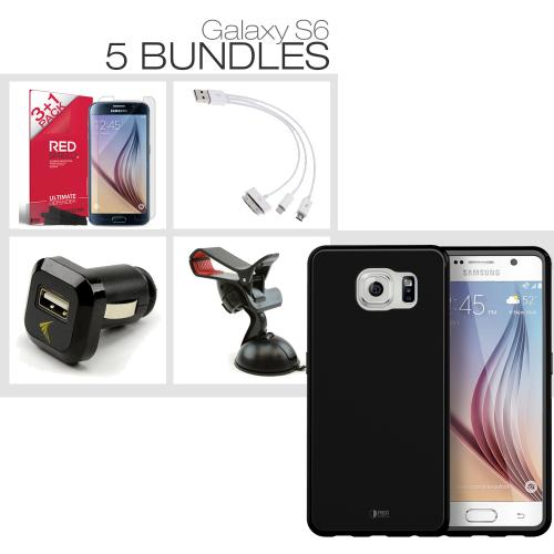 [Galaxy S6][5 Essential Package] TPU Case + Screen Protector + Car Charger + Suction Car Mount + 3-in-1 Data Cable