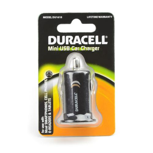 Duracell Black USB Car Charger Adapter (1A) - DU1618