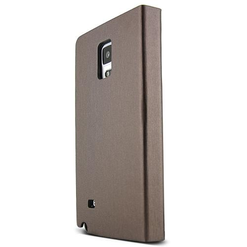 Samsung Galaxy Note 4 Case,  [Brown/ Copper] METAL LINE Series Slim & Protective Flip Cover Diary Case w/ ID Slots