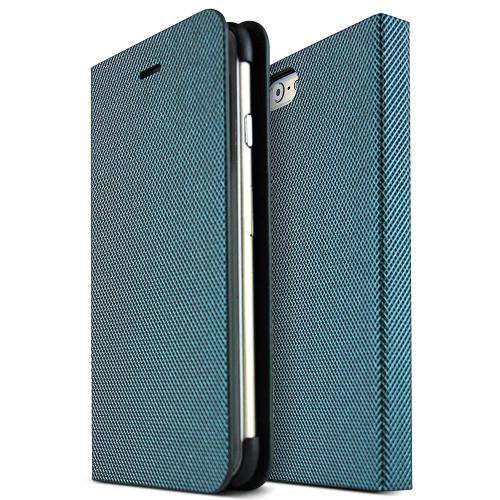 Made for Apple iPhone 6 (4.7 inch) Metal Square Series [Teal / Black] Slim Protective Flip Cover Diary Case w/ ID Slots by Nodea