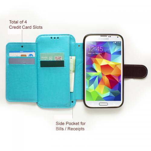 Nodea Dark Mint/ Black Samsung Galaxy S5 Secret Diary Series Wallet Case Hard Case [tpu/ Faux Leather]W/ Credit Card Slots