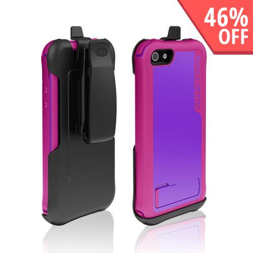 Made for Apple iPhone SE / 5 / 5S  Case, Ballistic [Purple/ Hot Pink] Every1 Series Hybrid Case w/ Holster w/ Built-In Screen Protector by Ballistic