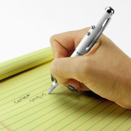 Cellet White Stylus 4 in 1 Laser Pointer/LED Light/Pen for Touchscreen Devices