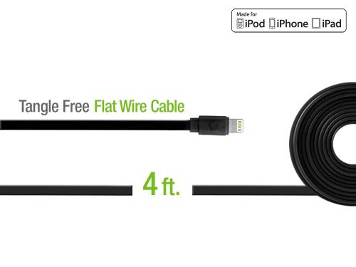 Black 4 Ft. Lightning Compatible Flat Wire Charging Data Sync Cable (Apple MFI Certified)