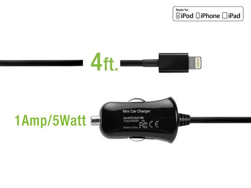 Black Ultra Compact 5 Watt (1 Amp) Lightning Compatible Car Charger
