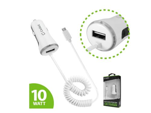 White High Powered 10 Watt (2.1 Amp) Micro USB Car Charger with USB Port
