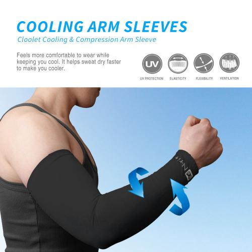 N-Rit Tube 9 Coolet Cooling Compression Sports Fingerless Glove Arm Sleeve [Black] w/ 99% UV Protection for Outdoor Activities (Golf Training Cycling etc)