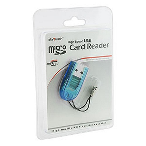 Transparent Turquoise MicroSD USB Card Reader