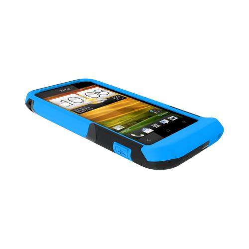 OEM Trident Aegis HTC One V Hard Cover Over Silicone Case w/ Screen Protector - Blue/ Black