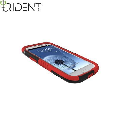 Trident Aegis Samsung Galaxy S3 Hard Case Over Silicone w/ Screen Protector - Red/ Black