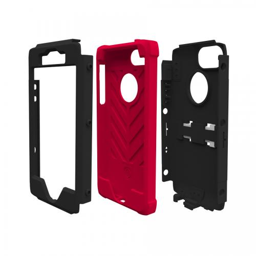 Apple iPhone SE / 5 / 5S  Case, Trident [Black/ Red ] KRAKEN AMS Series Hard Case Over Silicone Kickstand & Belt Clip w/ Screen Protector