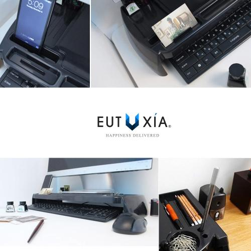 Eutuxia Slim Universal Monitor Laptop Multimedia Stand with Desk Organizer LED LCD - [Type C] (Black Plastic)