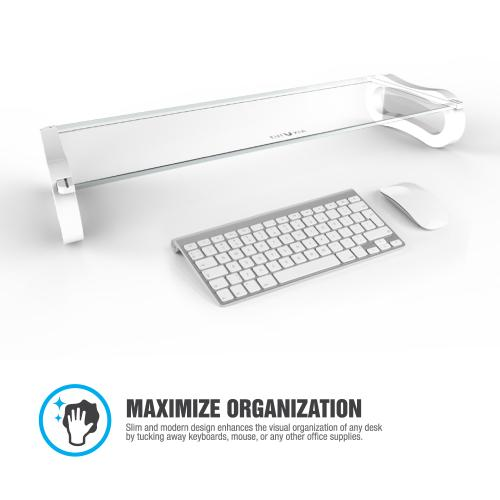 Eutuxia Monitor Stand [Type-U] [White] Slim Universal Monitor Laptop Multimedia Stand w/ Desk Organizer & 3 2.0 USB Ports