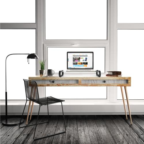 Eutuxia Monitor Stand [Type-U] [Black] Slim Universal Monitor Laptop Multimedia Stand with Desk Organizer