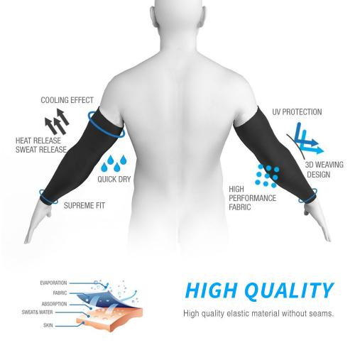 N-Rit Tube 9 Coolet Cooling Compression Sports Fingerless Glove Arm Sleeve [White] w/ 99% UV Protection for Outdoor Activities (Golf Training Cycling etc)
