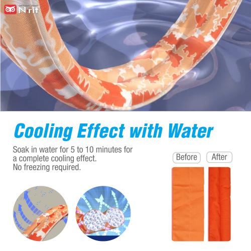 N-Rit Cooling Scarf [Polyester Light Orange], Wrap a Soaked Tie Around Neck to Chill Out. Crystal Polymers Keeps Wet and Reusable. Great for Outdoors, Sports, Travel, Exercise.
