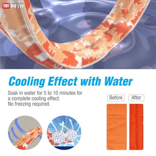[NEW2018] N-rit Cooling Scarf. Wrap Soaked Tie Around Neck, Head to Instantly Chill Out. Crystal Polymer Technology Keeps Cool, Reusable. Great for Summer, Indoor, Outdoor, Leisure Activities, Sports.