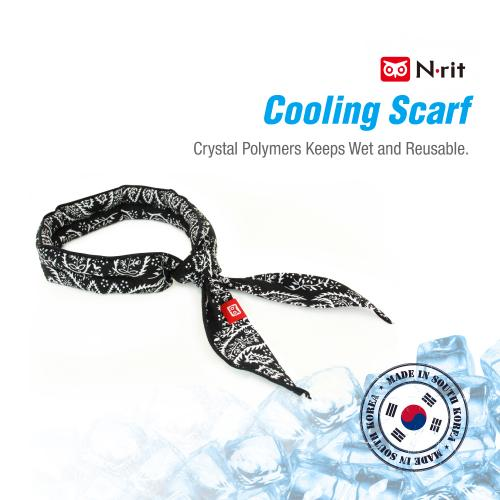 N-Rit Cooling Scarf [Cotton Light Blue], Wrap a Soaked Tie Around Neck to Chill Out. Crystal Polymers Keeps Wet and Reusable. Great for Outdoors, Sports, Travel, Exercise.