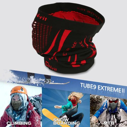 [n-rit Tube 9 Extreme 2] Multifunctional Face Mask Headwear Guard Durable Lightweight W/ Dual Ventilation Breathing System [Black/Red]