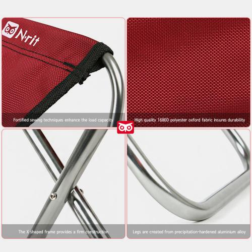 N-Rit Red/Black [2 Pack] Nano Easy Folding Compact Chair w/ Storage Bag - Perfect for Camping!