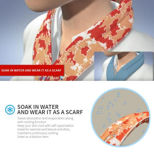 N-Rit Cooling Scarf [Polyester Orange Owl], Wrap a Soaked Tie Around Neck to Chill Out. Crystal Polymers Keeps Wet and Reusable. Great for Outdoors, Sports, Travel, Exercise.