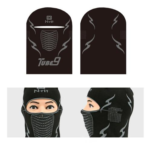 [n-rit Tube 9 Balaclava] Sports Balaclava Lightweight Ultra Breathable Performance Multifunctional Headwear [Black]