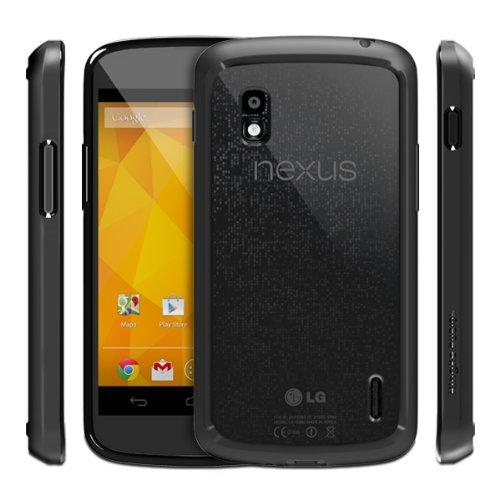 RINGKE FUSION for Google Nexus 4 Best Selling Shock Absorption Bumper + Anti Scratch Clear Back Premium Hybrid Case [Eco/DIY Pkg.][BLACK]