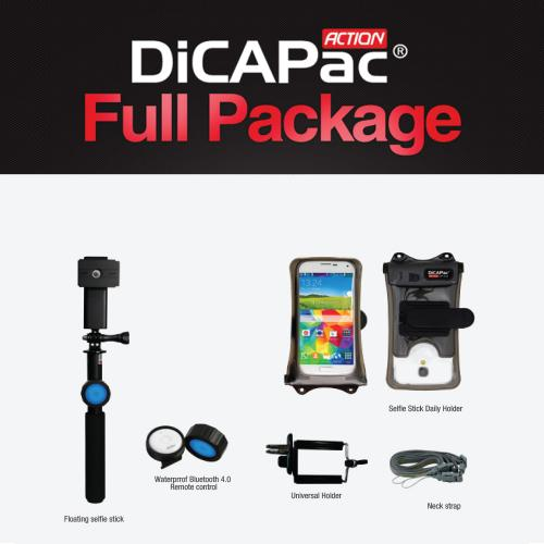 DiCAPac Action Waterproof Selfie Bundle for Devices Up to 5.7 inches - Perfect for Galaxy Note 4 and iPhone 6 Plus