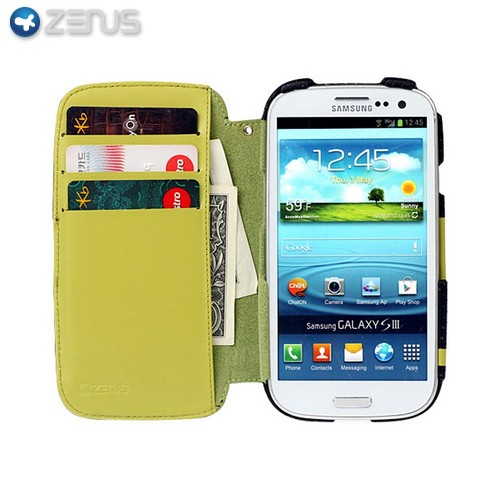 OEM Zenus Samsung Galaxy S3 Prestige Toscana Sport Genuine Leather Diary Case w/ ID Slots - Neon Green/ Black