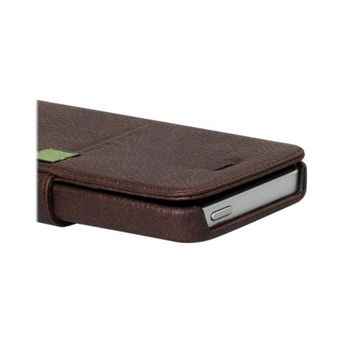 Apple iPhone SE / 5 / 5S  Case, Zenus [Brown/ Green] Masstige Color Point Leather Diary Case w/ ID Slots