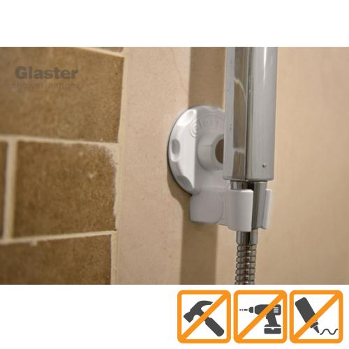 Glaster Shower Head Holder, Hand Held Adjustable Mount for Bathroom Wall, No-Damage Hanging Strips, Better than Suction Cups! Perfect for Handicapped, Kids, & Dogs!