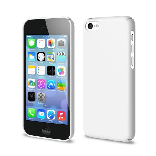 Solid White Apple iPhone 5C SLIM Series Full Top and Bottom Coverage Premium Dual Coated Hard Cover Case