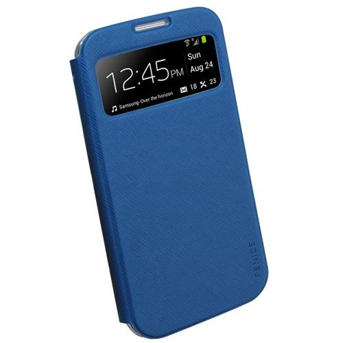 Fenice Blue Piatto View Series Premium Italian PU Leather Flip Diary Case w/ Magic Tape & Card Pocket for Samsung Galaxy S4