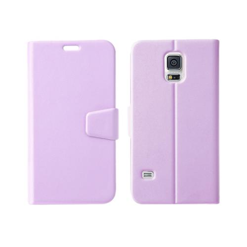 Nodea Lavender Samsung Galaxy S5 Hanton Diary Series Wallet Case Hard Case [plastic/ Faux Leather]; Credit Card Slots, Stand Function