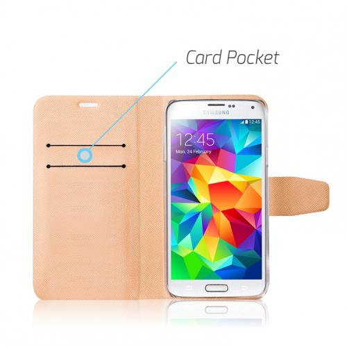 Nodea White Samsung Galaxy S5 Hanton Diary Series Wallet Case Hard Case [plastic/ Faux Leather];Credit Card Slots, Stand Function