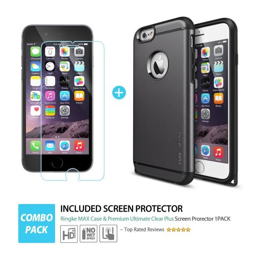 iPhone 6 Dual Layer Case by Ringke [Gun Metal] Max Series Featuring Heavy Duty Protection Armor Case with Dust Cap for Slim Max Protection