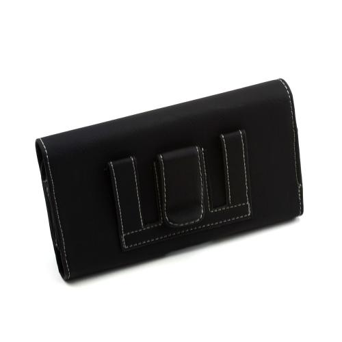 Black w/ Gray Stitching Horizontal Leather Holster Pouch w/ Magnetic Closure & Belt Clip for Samsung Galaxy Note Series