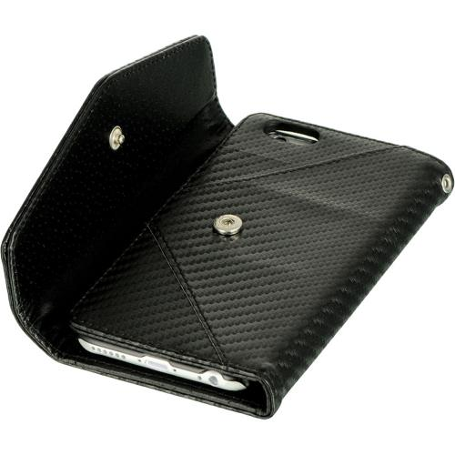 Made for Apple iPhone 6 ( 4.7 inch) Black Carbon Fiber Design Diary Wallet Clutch Case w/ ID slots and Wrist Strap Made by Redshield