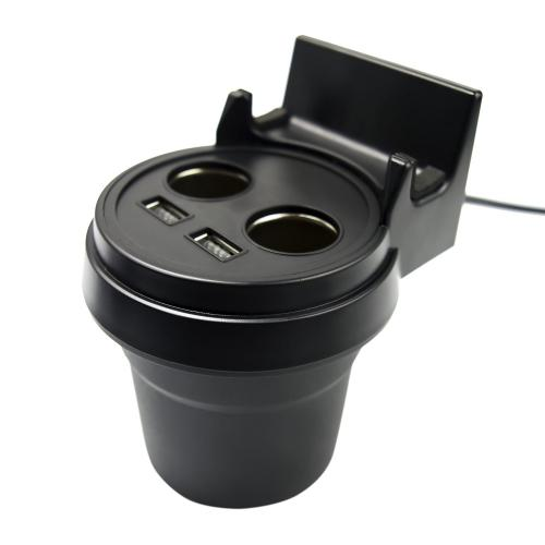 Car Cup Holder Charger w/ Dual Cigarette Sockets & 3.4 AMP USB Ports & Phone Stand [Black]