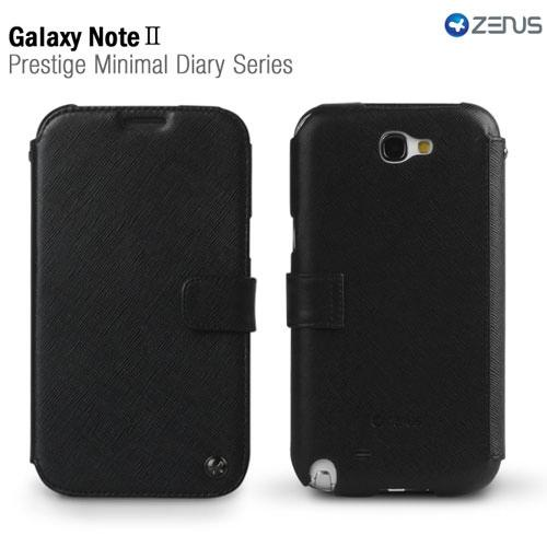 Black OEM Zenus Samsung Galaxy Note 2 Prestige Series Minimal Leather Diary Case w/ ID Slots